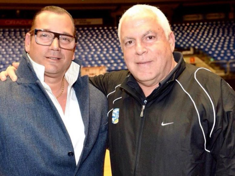 Marcello Inchalini with Pini Gershon and Guy Goodes coaching Maccabi Tel Aviv basketball.
